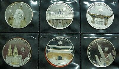 6 coins PALAU 5 DOLLARS 2013 SILVER COLOURED World Of Wonders $5 PROOF 2500 pcs