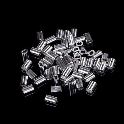 50pcs 1.5mm Cable Crimps Aluminum Sleeves Cable Wire Rope Clip Fitting XDAG