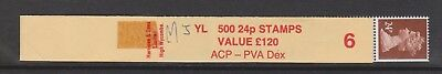 24p coil leader YL2 with 5 stamps attached, ACP/DEX (roll 6)