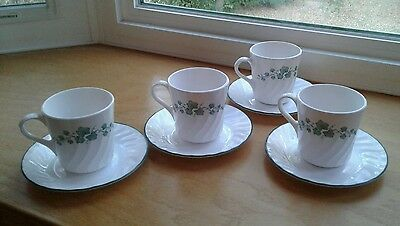 4 Corelle by Corning Callaway Green Ivy Coffee Cup & Saucer Sets = 8 Pieces