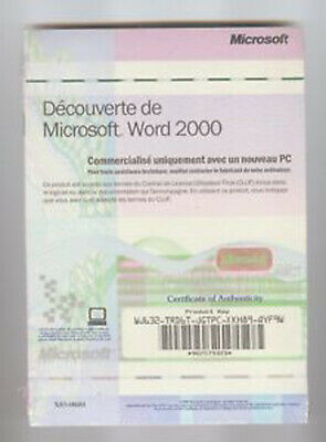 Genuine Microsoft Word 2000 Authenticity Product Key (No CD) serial word 2000