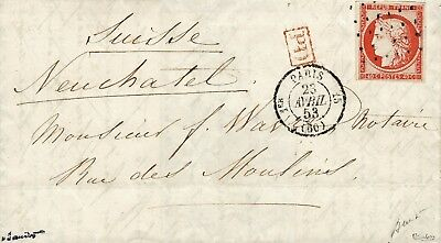 France lettre 1853 n°5 a ceres 40 c orange vif ob tirets pour la Suisse
