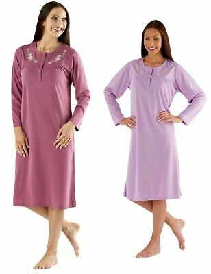 Ladies Floral Pansy Ditsy Poly Cotton Long Sleeve Nightdress Lavender Or Maroon