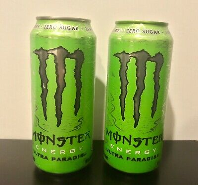 NEW! Monster Energy Drink ULTRA PARADISE 2 Full Cans Silver Tops