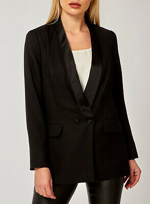 Dorothy Perkins NEW Piped Longline Tux Jacket Blazer in Black Sizes 6 to 22