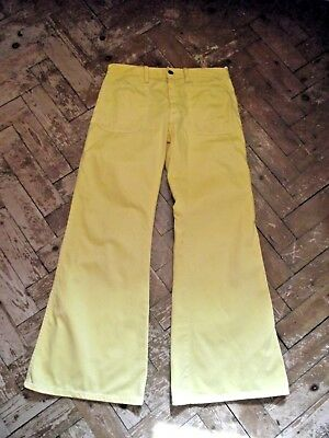 """Vintage 1970's  Canary Yellow Flared Jeans 30"""" waist size 12"""
