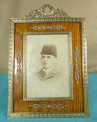 Large Russian Solid 56 Kokoshnic Gold Frame Wood Silver Easel Back Ca 1905