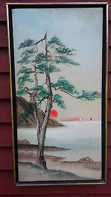 Vtg Beach Sunrise Sunset Landscape Mountain Tree Canvas Painting Framed Unsigned