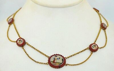 Early Micro Mosaic 18K Gold Necklace late 1700's-1800's