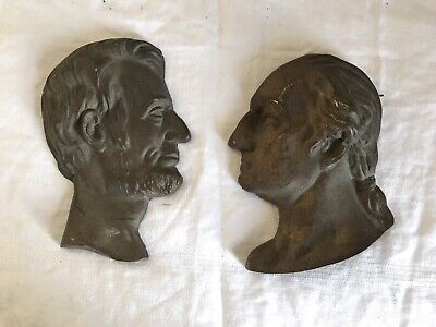 Antique Bronze Figural Relief Profiles Of George Washington & Abraham Lincoln