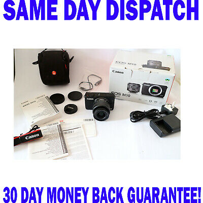Canon EOS M10 DSLR Camera with 15-45mm IS STM Lens - Black c/w FREE Case FAST PP