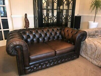 Chesterfield Sofa 2 Seater Genuine Leather Couch Antique Brown Thomas Lloyd Used