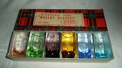 6 B P Imports Co. Whisky Shot Glasses Whiskey Assorted Colors Blue Green #2000