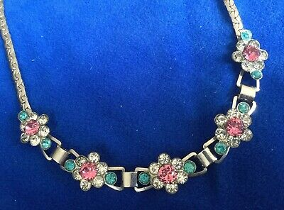 Vintage Art Deco Chrome Metal Pink Turquoise Rhinestone Small Collar Necklace