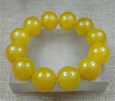 NEW 100% Natural YELLOW agate jade beads bracelet 20MM