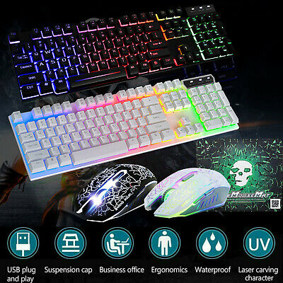 T6 Gaming Keyboard and Mouse Set Rainbow Backlight Usb Ergonomic for PC Laptop