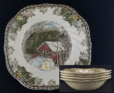(4) Johnson Brothers Friendly Village, Covered Bridge SQUARE SOUP BOWLS, Eng