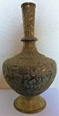 Superb Antique Indian Brass Decorative Engraved Vase Or Urn (Bc11)
