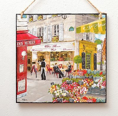 Wall plaque/picture Vintage French/Italy street scenery, cafe,bistro,flower shop