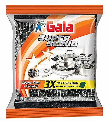 Gala Super Scrub Black Dishwasher Pack of 6 -Perfect grip, quick and easy to use