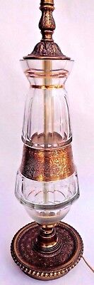 """Antique Brass & Glass 2- Light Table Lamp 43"""" Tall  Vintage Hollywood Regency"""