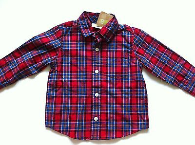 Crazy 8 Baby Boys 18-24M Red Plaid Button Down Long Sleeve Top Fall Winter NWT