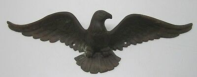 """Vtg Solid Brass Metal American Bald Eagle Statue Wall Hanging 20"""" Barn Rustic"""