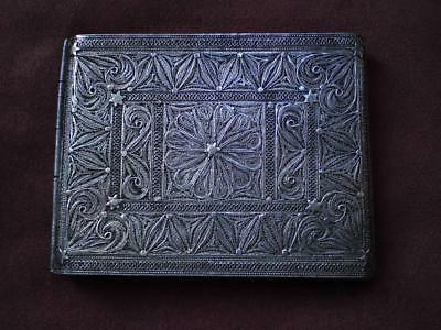 Rare antique 19th Islamic Persian sterling silver filigree Cigarette case Signed