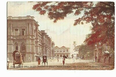 Vintage Postcard Colombo Ceylon General Post Office and Clock Tower
