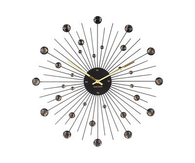 Karlsson Sunburst Crystal Wall Clock 50 Cm Black
