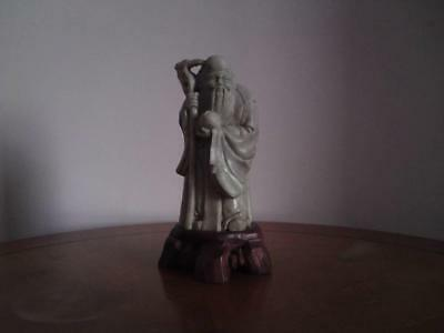 Early 20thC Chinese Carved ShouShan Soapstone Shou Lao Immortal Sculpture Figure