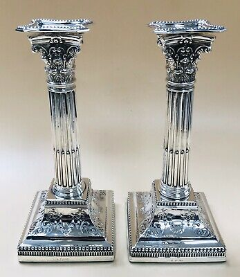 LOVELY PAIR SOLID SILVER CORINTHIAN CANDLESTICKS, SHEFF 1901 1645g / 58oz
