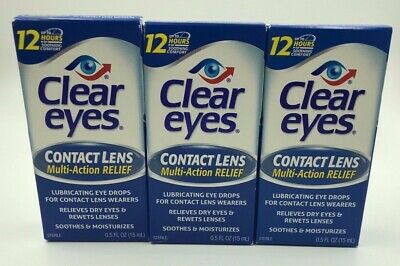 Clear Eyes Drops CONTACT LENS 0.50 oz (3 pack) NEW LOT OF 3