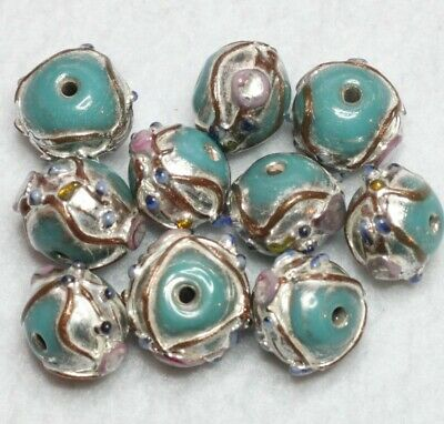 20 INDIAN LAMPWORK GLASS BEADS TURQUOISE 10 mm ROUND  (BBB570)