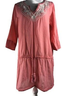 d4b3d37f7b Lands End Womens Size M Semi Sheer Tunic Top Embroidered Empire Waist Pink
