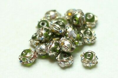 20 INDIAN FANCY LAMPWORK GLASS BEADSGREEN 8mm ROUND (BBB652)