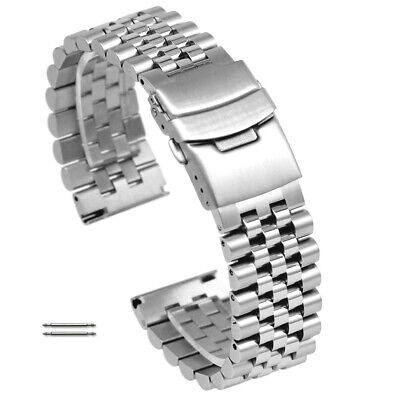 Stainless Steel Screw Link Bracelet Soild Clasp Replacement Watch Band Strap