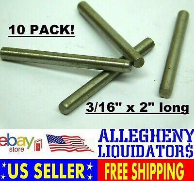 "(10 PACK!) 3/16"" W x 2"" Long Stainless Steel Dowel Pin Rod NH FREE SHIPPING!"