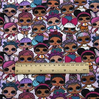 FABRIC LOL DOLL DOLLS SURPRISE PRINT POLYCOTTON BLEND 0.5 X 1.45M//0.55 X 1.61 YD