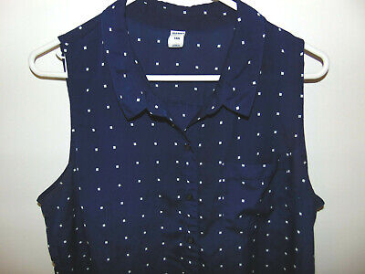 OLD NAVY Women's Blue Button Front Sheer Sleeveless Blouse     Size Large