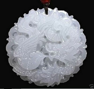 Natural hand-carved Chinese Jade pendant White dragon Phoenix & Sterling Chain