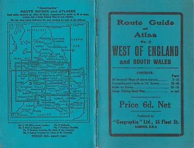 GEOGRAPHIA ROUTE GUIDE & ATLAS NO.2 WEST OF ENGLAND & SOUTH WALES ON PAPER 6d