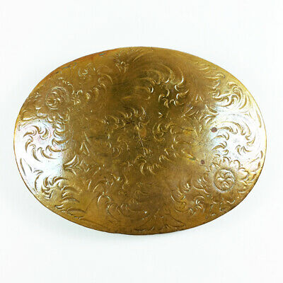 Vtg Chambers Oval Floral Abstract Brass Bronze Belt Buckle