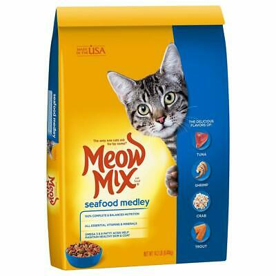 Meow Mix Dry Cat Food Seafood Medley, Tuna, Shrimp, Crab, Trout, 14.2-Pound