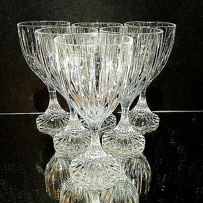 6 (Six) MIKASA PARK LANE Cut Lead Crystal Wine Goblets Glasses