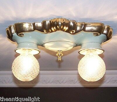 627 Vintag 40s Ceiling Light Lamp Fixture bath hall porclain Porcelier
