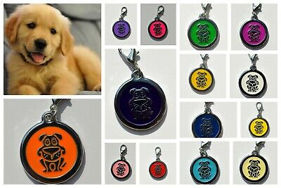 Personalised DOG IMPACT ENGRAVING Dog ID / Cat Name Tag Puppy Pet Tags 14 COLORS