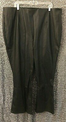 52bfd53a9c021 Roamans Womens Plus Sz 26W Black Faux Leather Pull On Bootcut Flare Pants