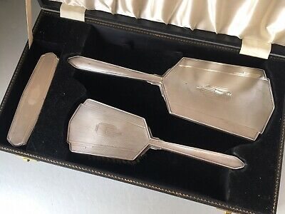 Vintage Boxed Art Deco Style Solid Sterling Silver Vanity Set, Mirror & Brushes