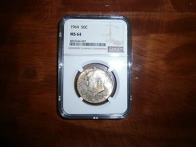 1964 Kennedy Silver Half Dollar Ngc Ms 64 Some Toning First Year Coin